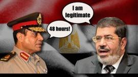 Général Abdel Fattah Al-Sissi, Ministre de la défense et le président Mohamed Morsi. Source : english.alarabiya.net
